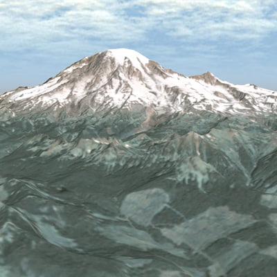 mount rainier mountain 3d model