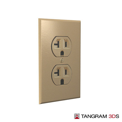 3d north american power outlet model