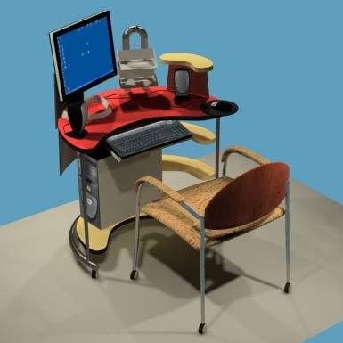 pc computer desk rover 3d model