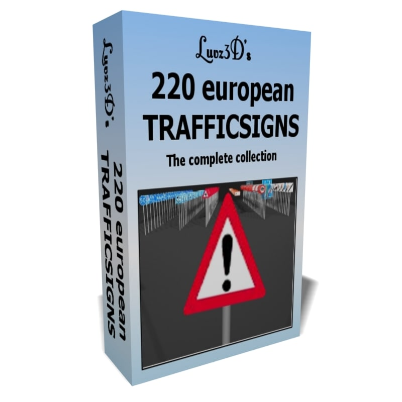 220 european traffic signs 3d model