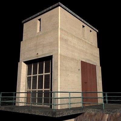 3d tower dam model