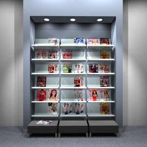 3d model of full-height magazine rack shelving