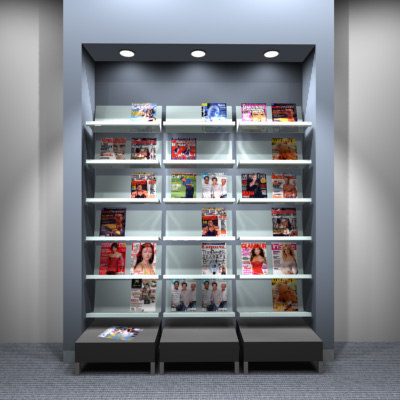 3d model of full-height magazine rack shelving