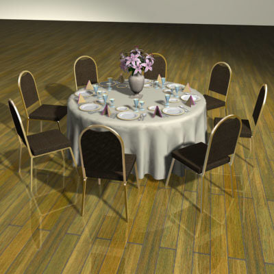 3d model set table chairs