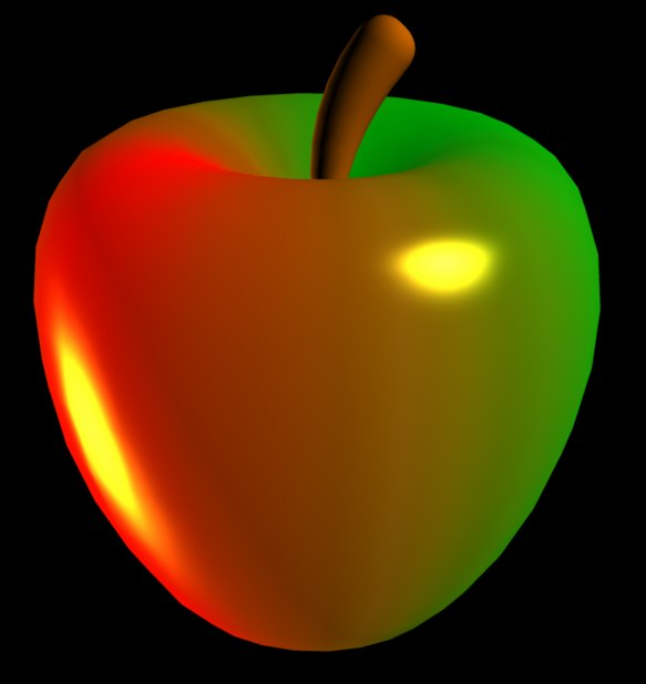 3d model of green red apple