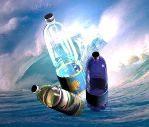 pe bottles various shape 3d model