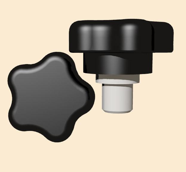 3ds separate steel plastic knob