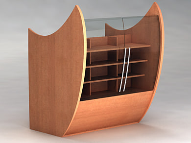 3d model wood library furnituring