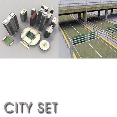 3d city set skyscrapers arena model