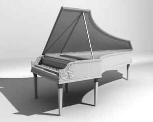harpsichord antique 3d model