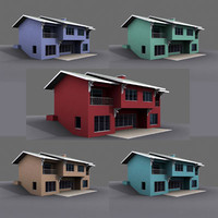 exterior duplex building house 3d model