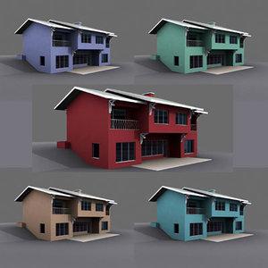 exterior duplex building house 3d model