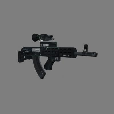 3d ak-47 assault rifle model