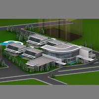 3d school building 02 model