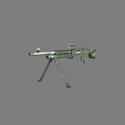 m240 machine gun 3d max