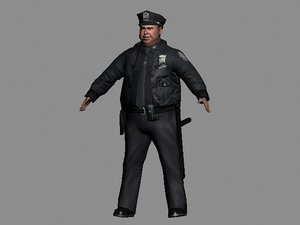 3d overweight fat cop model