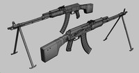 free a-k rifle 3d model