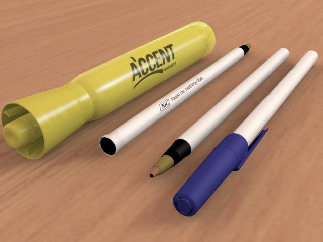 3d model pens marker