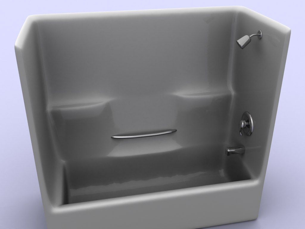 shower stall tub 3d model