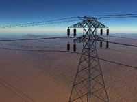 tension power tower lines 3d model