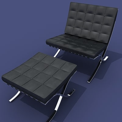 barcelona chair ottoman 3ds