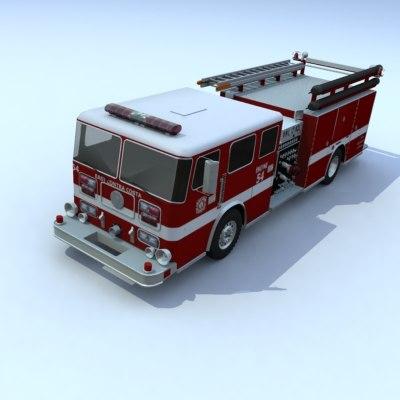 3d truck firetruck