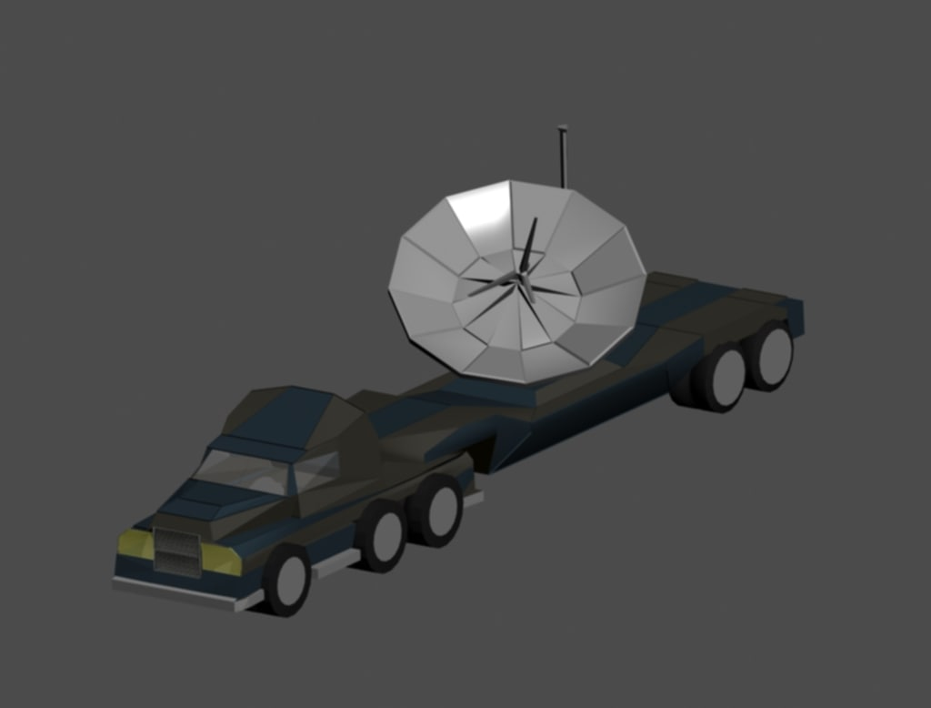 3d model of trailer satellite uplink