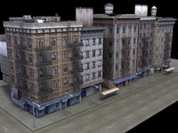 multi city building facade 3d model