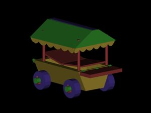 3d cart wooden
