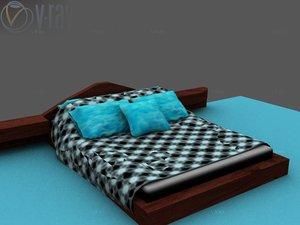 bed queen platform 3d model