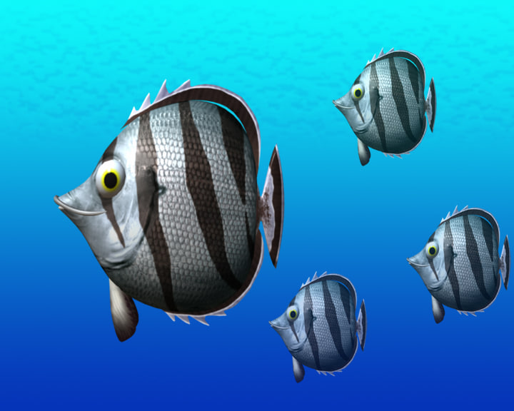 3d model banded butterfly fish