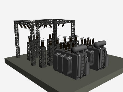 3ds max power sub station