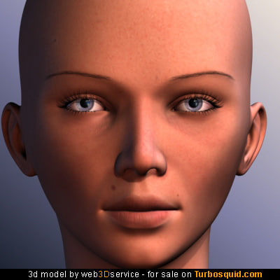 beautiful female head skin 3d model