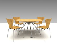 3d model arne jacobsen table chair