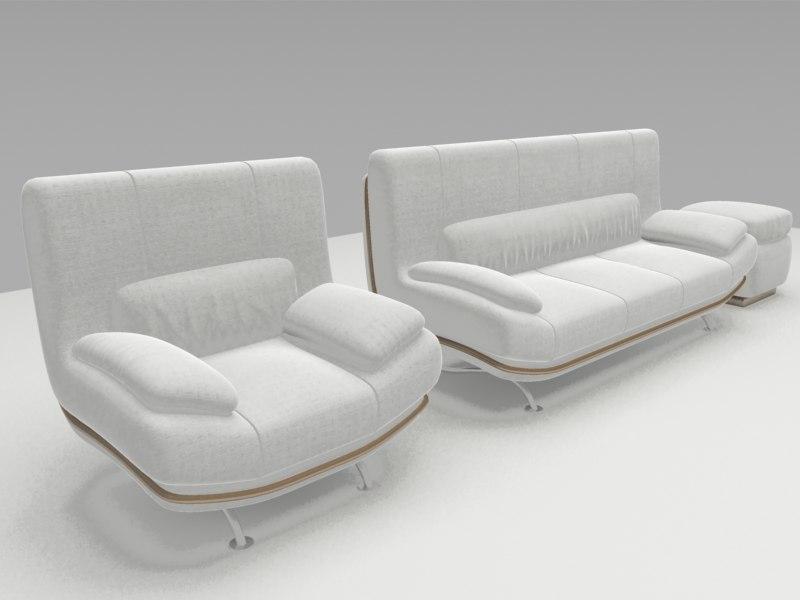 3 peice sofa modern 3d model
