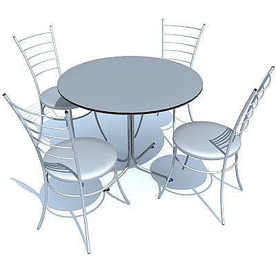 3d cafe table chair model