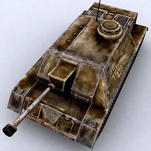 3d war military tanks stug-iii model