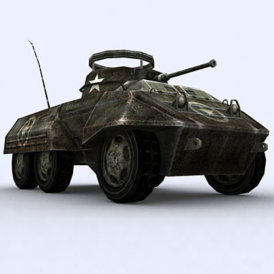 war military tanks m8 greyhound 3d 3ds