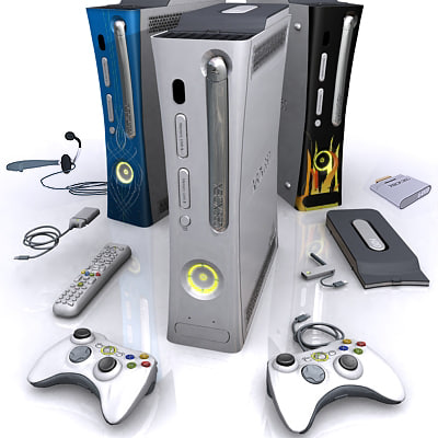 console xbox 360 complete 3d model