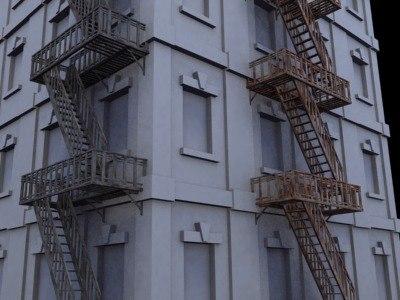 3d building facade