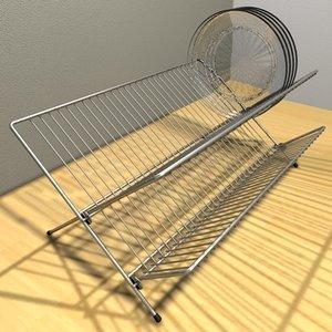 dish rack plate 3d c4d