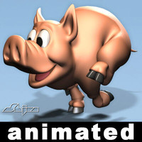 Runing Pig Rigged Animated
