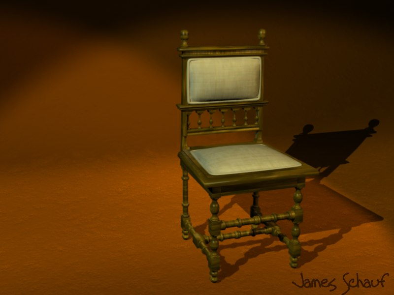 3d old victorian chair antique model