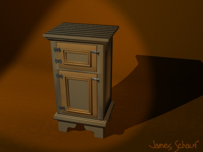antique icebox 3d model
