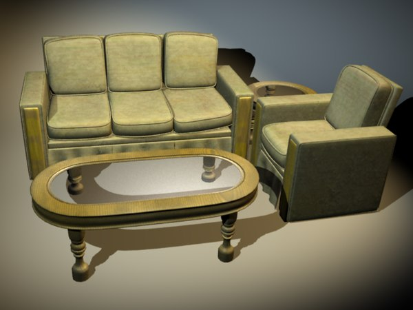 3d sofa chair coffee table model
