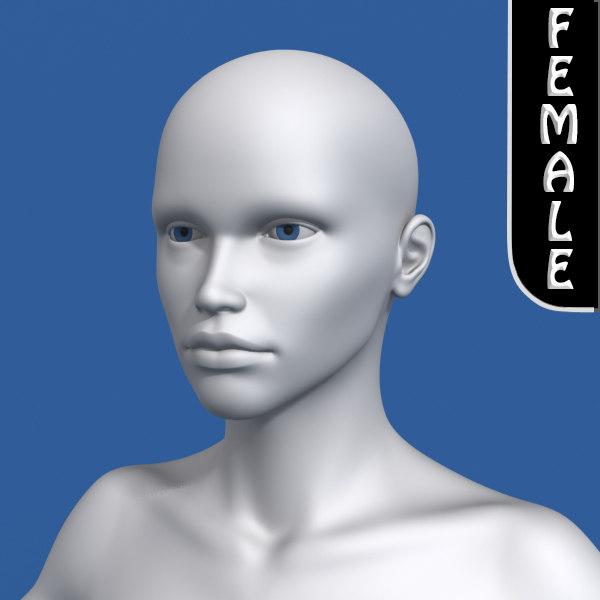 realistic female human 3d model