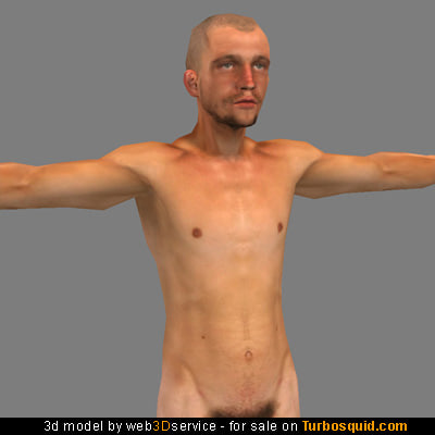 polygonal nude male 3d model