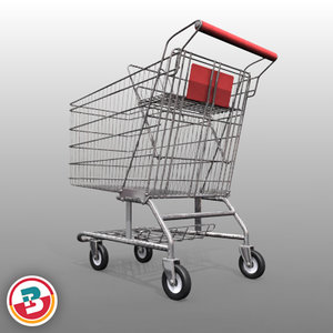grocery store shopping cart 3d model