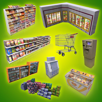 3ds max grocery convenience store shopping cart