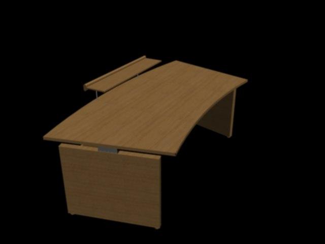 desk curved 3d 3ds